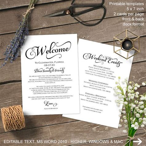 Wedding Welcome Letter Wedding Welcome Bag Note Itinerary Welcome Bag Letter Template