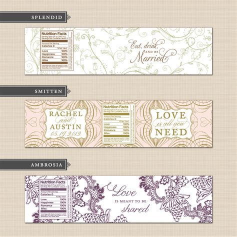 diy printable custom wedding water bottle label design