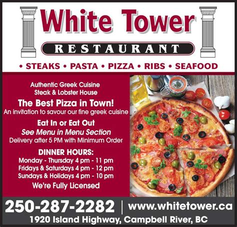 section 5 pizza white tower restaurant menu hours prices 1920