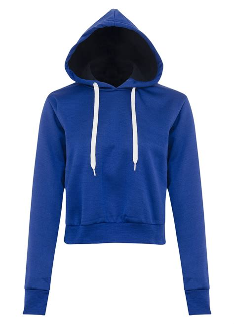 Hooded Plain Pullover new womens plain pullover hooded crop top