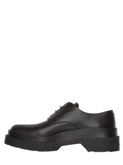 Jil Sander Shoe 3 by Jil Sander 40mm Leather Platform Derby Shoes In Black For