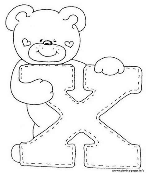 cute letter coloring pages cute bear x alphabet s53d5 coloring pages printable