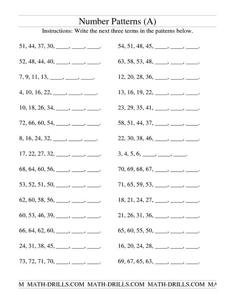pattern and numbers free number pattern worksheets 2nd grade 1000 images