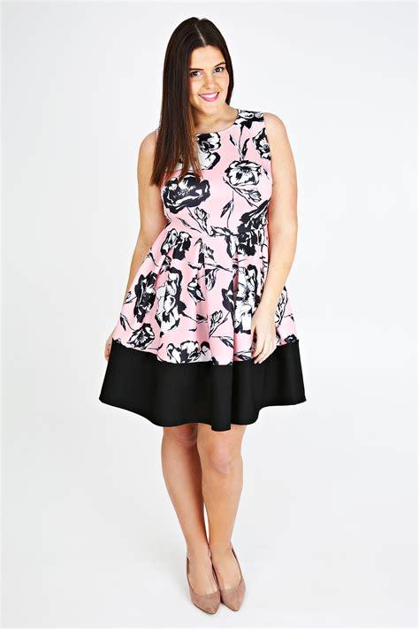Dress Nl 30 Pink pink poppy print skater dress with black band plus size 14