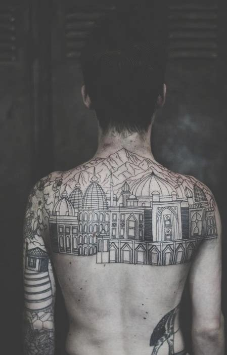 city boy tattoo back idea