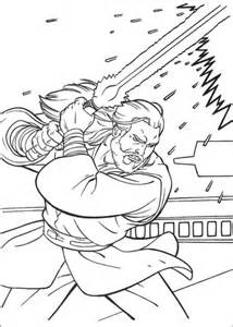 qui gon jinn fighting coloring page free printable