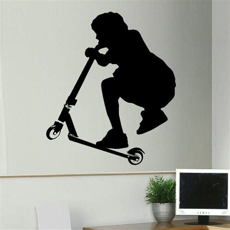 large stunt scooter childrens bedroom wall art sticker