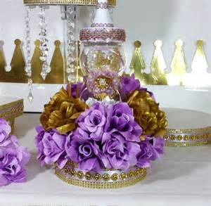 girls princess baby shower centerpiece with lavender amp gold