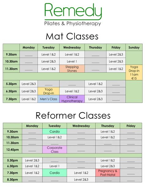 You And The Mat Schedule by Pilates At Remedy Mat Reformer And Clinical Classes