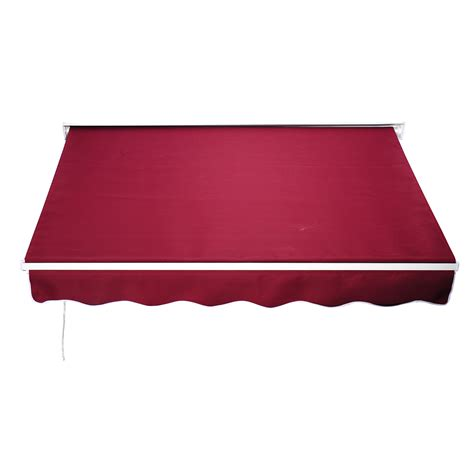 awning red 6ft drop arm manual retractable door window awning canopy