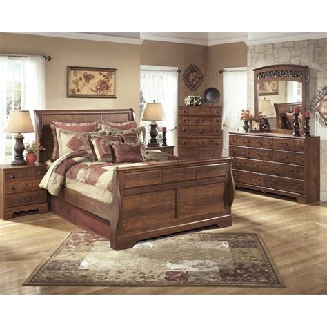 ashley queen bedroom set ashley timberline 6 piece wood queen sleigh bedroom set in