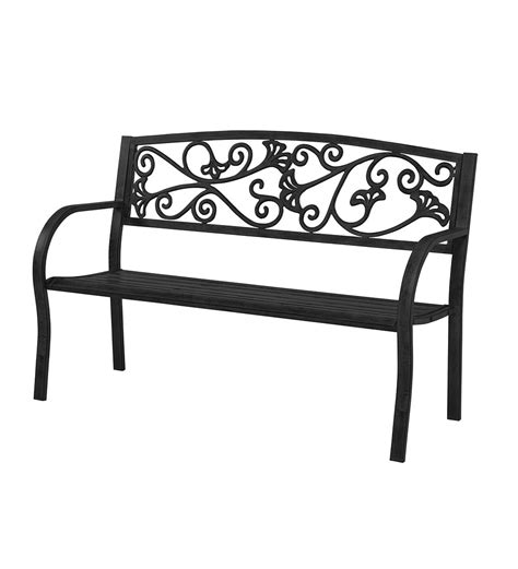 black metal bench outdoor black metal ginkgo leaf bench in outdoor furniture