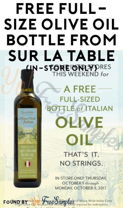 sur la table coupon code october 2017 free size olive bottle from sur la table in