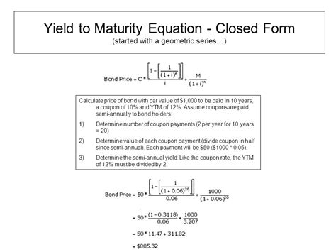 calculator yield to maturity yield to maturity formula ppt video online download