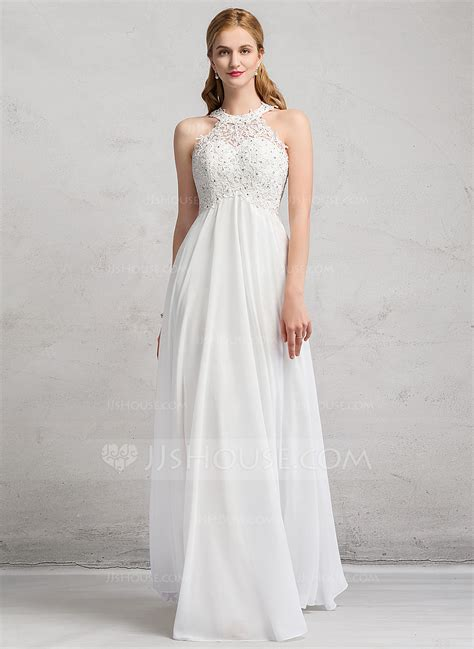 Brautkleid Empire by Empire Scoop Neck Floor Length Chiffon Lace Wedding Dress