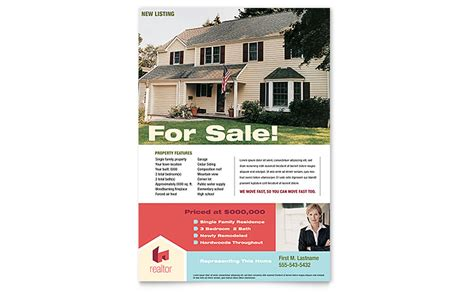 Home Real Estate Flyer Template Word Publisher Microsoft Real Estate Templates