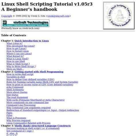 linux tutorial guide linux shell scripting tutorial a beginner s handbook