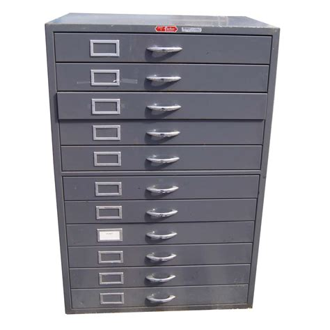 Flat File Cabinet 1 Vintage Grey Metal Flat File Cabinet 11 Drawers Ebay