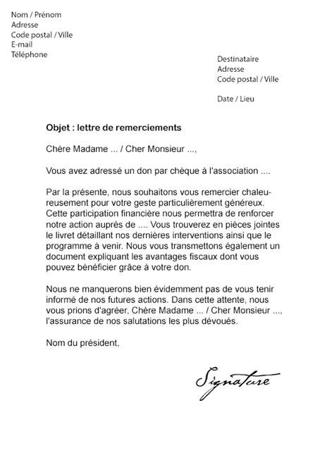 Exemple De Lettre De Départ Remerciement lettre de remerciement pour un don mod 232 le de lettre