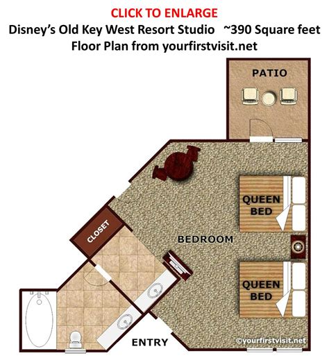 One Bedroom Floor Plan by Overview Of Accomodations At Disney S Old Key West Resort