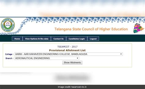 eamcet seats ts eamcet seat allotment results published