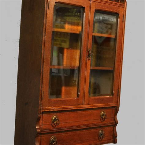 Curio Cabinet With Glass Doors Bargain S Antiques 187 Archive Antique Oak Wall Curio Cabinet With Beveled Glass Doors