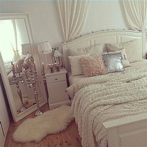 faux fur headboard mirror propped diagonally in the corner curtains for a