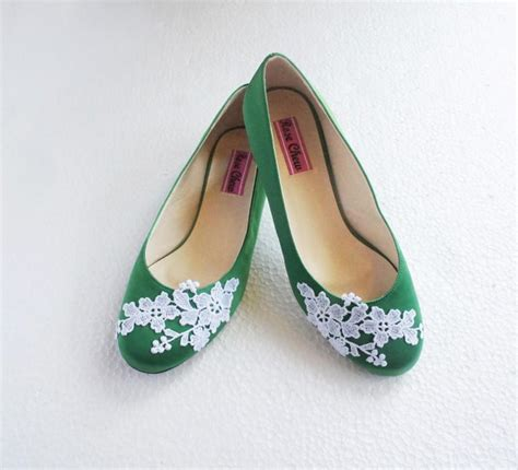 ballet flower shoes white lace green satin wedding shoes floral embroidered