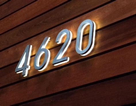 light up address sign 3d led backlit brushed stainless steel house number with