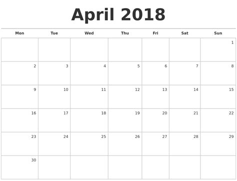 printable monthly calendar starting monday april 2018 blank monthly calendar