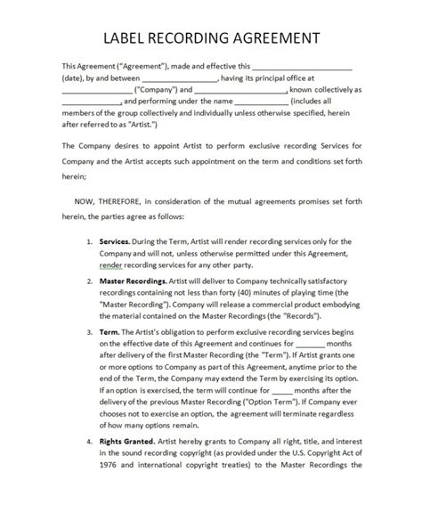 Music Recording Contract Free Printable Documents Recording Contract Template