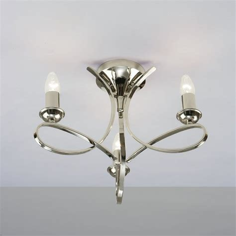 Flush Ceiling Chandeliers by Interiors 1900 Penn Ca7p3n 3 Light Nickel Semi Flush