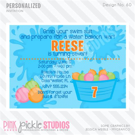 free printable birthday invitations water water balloon personalized party invitation