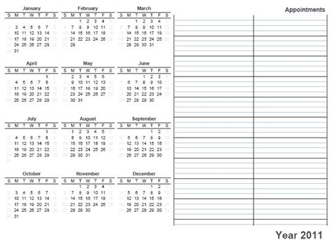 free printable yearly planner printable calendar 2011 171 home life weekly