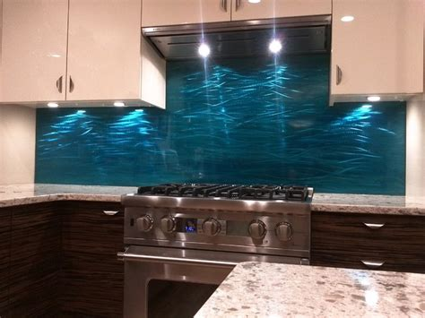 blue stainless steel backsplash contemporary edmonton