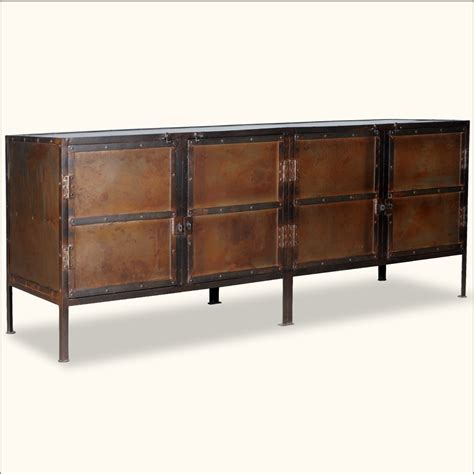 rustic buffet sideboard industrial iron 76 quot 4 door rustic storage buffet sideboard cabinet table ebay