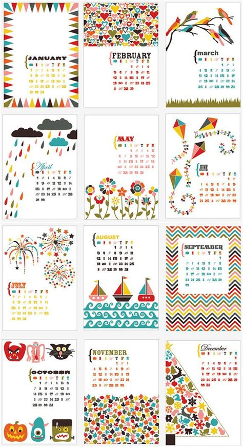 desk calendar bold bright fun
