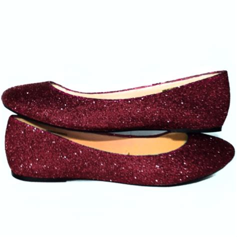 Flat Shoes Ballet Maroon sparkly burgundy maroon glitter ballet flats wedding shoes glitter shoe co