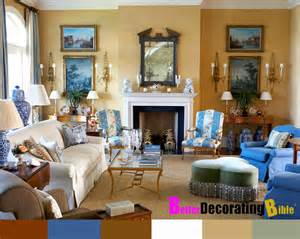 yellow and blue provincial decorated living and