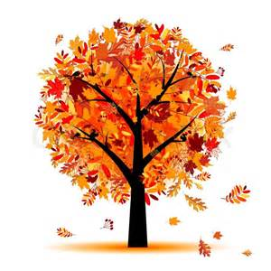Home Decoration Colour Beautiful Autumn Tree For Your Design Stock Vector