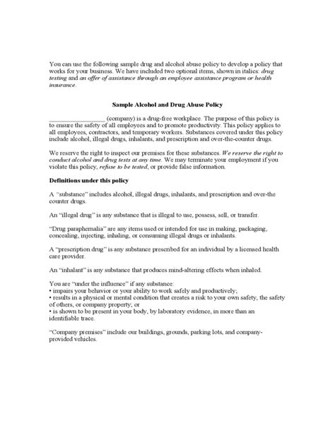 alcohol and drug abuse policy template sle and abuse policy free