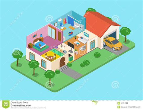 2 Bedroom 2 Bath House Plans home house interior exterior room flat 3d isometric vector