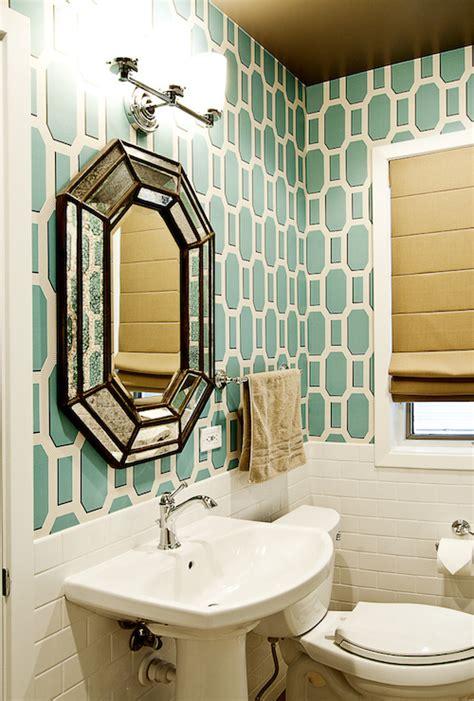 teal bathrooms teal geometric wallpaper transitional bathroom