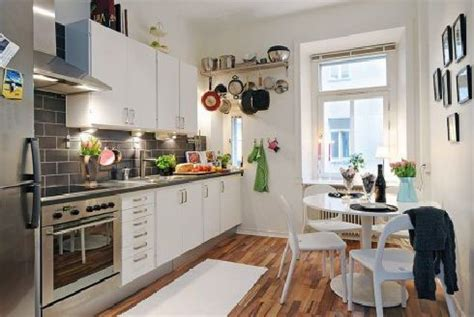 Kitchen Design Apartment | hunky design ideas of small apartment kitchens with wooden floors also corner table set plus