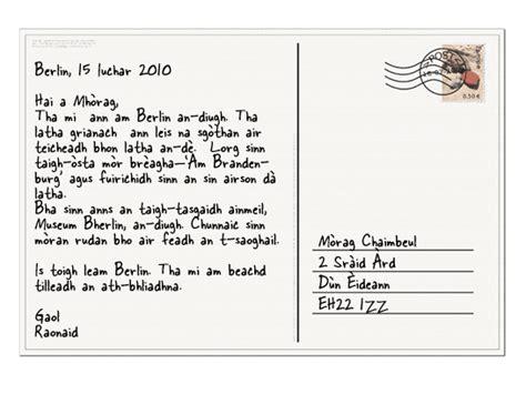 bbc standard grade bitesize gaelic writing postcards