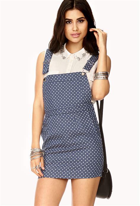 White Overall Dress forever 21 polka dot overall dress in blue lyst