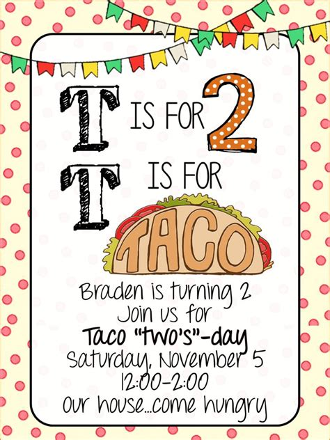 Taco Quot Two S Day Quot Braden S 2nd Birthday Party House Of Hargrove Taco Invitation Template