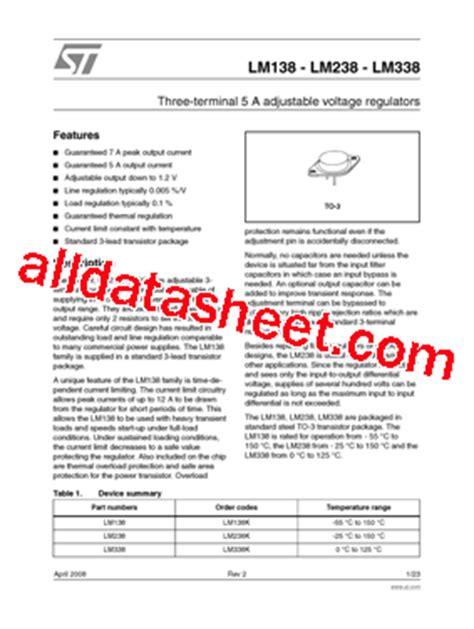 transistor lm338k datasheet lm338k datasheet pdf stmicroelectronics