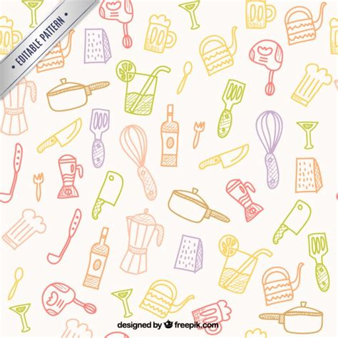 kitchen pattern vector free hand drawn kitchen tools pattern vector free download
