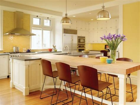 Kitchen Dining Island Yellow Combo Kitchen Design With White Island And Dining Table For The Home